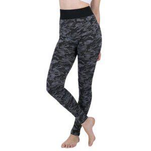 Gray with Black Camouflage Yoga Pants